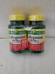 2pk Spring Valley L-Arginine Capsules, 500mg, 50 Count