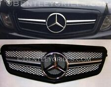 Mercedes W212 Grille E Class Grill 2009-2013 Obsidian Gloss Black AMG LOOK