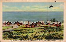 Vintage Postcard Finisterre Lodges, Depoe Bay, Oregon Roadside Linen Hwy 101