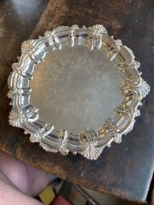 """c1960s Georgian Style Silver Plate On Copper 8"""" Salver Or Card Tray"""
