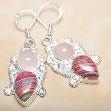 """Handmade Pink Rose Quartz Gemstone 925 Sterling Silver Earrings 2"""" #E00204"""