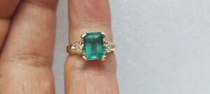 3.15ct Genuine Natural Emerald And Diamond Ring In Solid 14K Yellow Gold