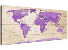 Crema Púrpura Grande Mapa Del Mundo Atlas Lona Pared Arte - 120 Cm Ancho - 1312