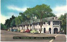 Postcard CA San Jacinto Hotel Vosburg W/ Old Card Parked Outside Vintage Linen
