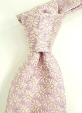 Mint Brioni Pink Silk Neck Tie w/ Woven Tonal Floral ITALY