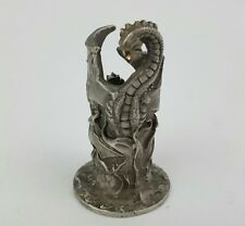"Pewter Dragon Candle Holder 2 5/8"" Wrap Around Design"