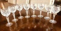 "8- ABP Cut Glass Crystal  6.5"" Wine Glasses Zipper Stem HOBSTAR Strawberry"