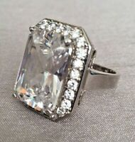 Radiant Cut CZ Cluster Cocktail Dress Hollywood Ring Silver Tone & Gift Box