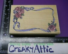 Roses Frame Ribbon Eyelet Rubber Stamp Stampede A801F Creakyattic