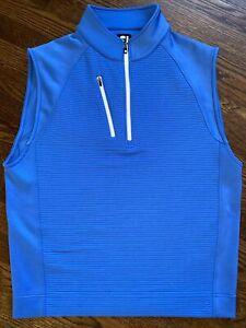 FootJoy mens 1/2 zip pullover golf vest size M medium blue EUC  sleeveless