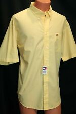 NOS L Yellow White GRID Check Vtg 80s 90s Tommy Hilfiger S/S Shirt Button Down