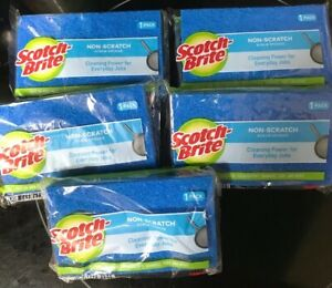 NEW 5 Pack 3M Scotch-Brite NON-SCRATCH Hand Scrub Sponge kitchen bathroom clean