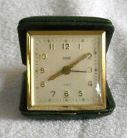 Vintage Kohler Travel Alarm Clock 7 Jewels Germany Green Case