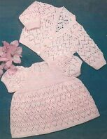 "Baby Dress and Cardigan Knitting Pattern 16-20"" 4 ply  347"
