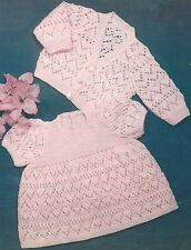"""Baby Dress and Cardigan Knitting Pattern 16-20"""" 4 ply  347"""