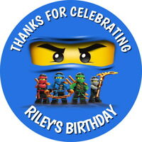 PERSONALISED LEGO NINJAGO JAY BIRTHDAY PARTY BAG FOOD BOX SWEET CONE STICKERS