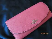 New $250 Coach Strawberry Pink Cross Grain Leather Slim Envelope Wallet F54009