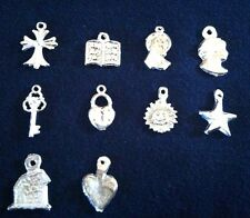 """Mexican Milagros Charms Silver Color Lot of 10 """"what you see is what you get""""A21"""