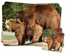Grizzly Bears in Love Twin 2x Placemats+2x Coasters Set in Gift Box, ABE-1PC