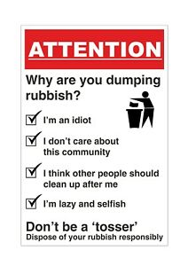 NO LITTERING - NO DUMPING RUBBISH - NO FLY TIPPING - SIGN - 300x200mm