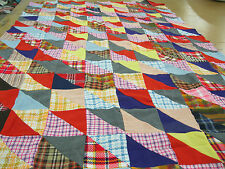 Patchwork Quilt Top Full 57 In Wide x 89 In Long Vintage Knit Fabrics
