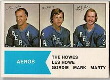 The Howes (Gordie, Mark, Marty), 1974 OPC / WHA Card #1-Awesome Centering