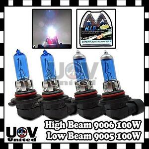 100w 9006 HB4 9005 HB3 9140 High Low Beam Bulbs Combo Halogen Gas Xenon 5000K U2