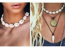 Charms White Sea Shell Choker Necklace Collar Beach Hippy Boho Short Pendant UK