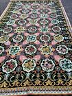 """Original French Needlepoint Carpet 8""""x14' c. all over design c 1920 natural dyes"""