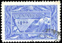 Stamp Canada Used 1951 F+ Scott #302 $1.00 Fisherman Stamp