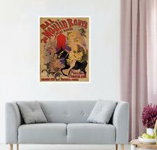 "24"" Framed Canvas Vintage painting art print Moulin Rouge  old France lady"