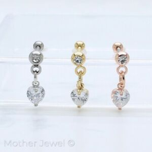 SIMULATED DIAMOND HEART DANGLE CARTILAGE LABRET SILVER YELLOW ROSE GOLD IP STUD