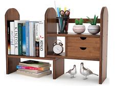 TRIBESIGNS Bamboo Desktop Bookshelf Counter Top Adjustable w/2 Drawers - Brown