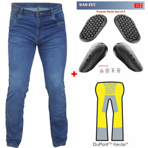 RTX Blue Motorcycle Biker JEANS + SAS-TEC CE Level 2 Armour & Made with Kevlar
