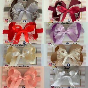 Big Bow Baby Girls Headbands Lace Bow Elastic Band 4 Inches Spanish Dress+ Lot