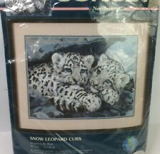 Vintage Needlepoint Kit Dimensions Snow Leopard Cubs 12143