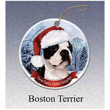 Boston Terrier Howliday Porcelain China Dog Christmas Ornament