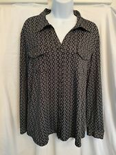 Notations Women's Black White Printed Long Sleeve Shirt Blouse Size L