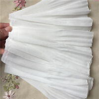 2yds Elastic Ruffle Lace Edge Trim Chiffon Pleated Ribbon Sewing 8.66'' Width
