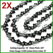 "2XCHAINSAW CHAINS 3/8lp .050"" 57DL FOR 45cc ROK 400mm 16"" BAR - SAW CHAIN"