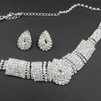 Prom Party Wedding Bridal Rhinestone Crystal Necklace Earring Jewelry Sets