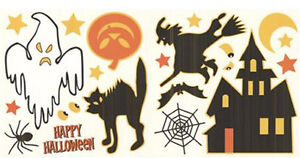 HALLOWEEN wall stickers 20 decals ghost black cat witch haunted house pumpkin +
