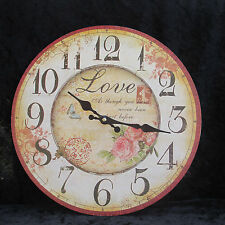 # U4/ Uhr Wanduhr Vintage old english roses Love Liebe Postkartenstil Rosen