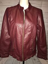 Christopher And Banks Vegan Leather Ruffled Hem Jacket Coat Zip Up Size Medium