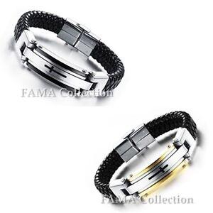 FAMA Black Leather Bracelet w/ Centre Engraved Black IP Cross Colour Edge Select