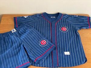 RARE Chicago Cubs Starter Pinstripe Jersey & Shorts Size L Collector MLB Vintage