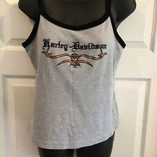 Harley Davidson Ladies Tank Top Size L Gray With Black Tank String And Logo #A68