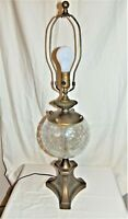 Vintage Art Deco Brass Architectural Table Lamp w Crackle Glass Globe 8357