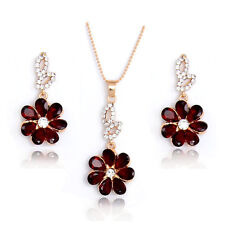 Woman Gold Plated Crystal Clear Red Flower Necklace Earrings Wedding Jewelry Set