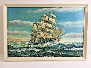 Vintage Oil Painting on Board of A Sail Ship Boat Signed John F H Vaughan